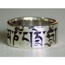 Sterling Silver Om Mani Padme Hum Ring