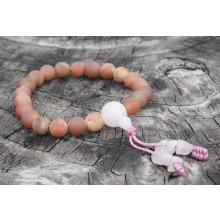 Peach Druzzy Agate Wrist Mala