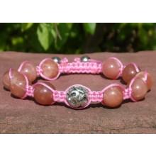 Peach Moonstone & Silver Om Shamballa Bracelet