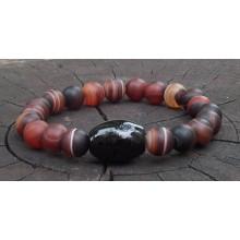 Matte Black & Red Sardonyx Agate Wrist Mala