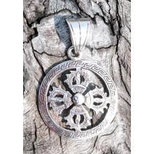 Silver Double Dorje (Viśvavajra) Pendant