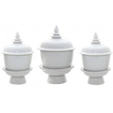 "3"" White Porcelin Tea & Sake & 4"" Ink Set with Stands"