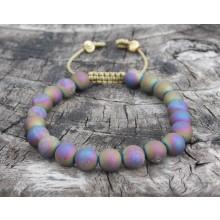 Rainbow Druzzy Agate Wrist Mala