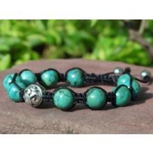 Turquoise & Sterling Silver Om Shamballa Bracelet
